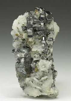 Bournonite on Quartz from Herodsfoot Mine, Cornwall, England. Crystal Classics Minerlas