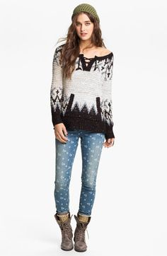 Free People 'Love Bug' Lace-Up Nordic Sweater available at #Nordstrom