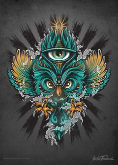 Owl poster on behance tattoo designs in 2019 art, owl art, g Art And Illustration, Creative Illustration, Illustrations, Art Pop, Owl Artwork, Geniale Tattoos, Desenho Tattoo, Psychedelic Art, Zentangle