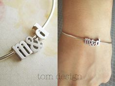 LOVE Tiny Silver Letter & Ampersand Bangle Bracelet Lowercase - Silver Initial Custom Bridal Gift Personalized Bridesmaid Wedding