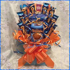 terrys chocolate orange Bouquet SWEET CREATIONS Christmas tablecentre wedding birthday gift present quality street Matchmakers orange choc Chocolate Hampers, Chocolate Gifts, Chocolate Box, Cadbury Chocolate, Sweet Hampers, Gift Hampers, Gift Baskets, Gift Bouquet, Candy Bouquet