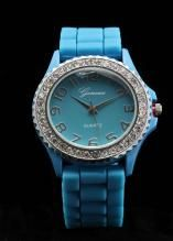 Crystal Large Round Face Aqua Silicone Watch www.sterlingjewelrystores.com