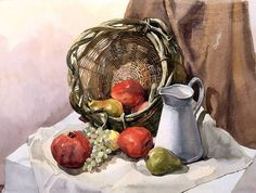 "Still life with basket. Watercolor. 22.5""x17"" Yeliseyev Art Studio, phone (941) 330-6865 4600 Pine Harrier Dr., Sarasota, FL"