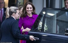 Kate Middleton wears purple coat and opens children's hospice Duchess Kate, Duke And Duchess, Duchess Of Cambridge, London In January, Princess Kate Middleton, Kate And Meghan, Purple Coat, Skirt Suit, British Royals