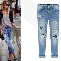 Jeans women high waist boyfriend Jeans mom Ladies Cotton Denim Pants plus size Ripped Pencil Skinny Denim Jeans For Female Ripped Jeggings, Ripped Skinny Jeans, Womens Ripped Jeans, Jeans Women, Ladies Jeans, Boyfriend Jeans, Mom Jeans, Women's Jeans, Cute Jeans
