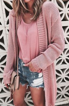 #winter #outfits pink knitted cardigan