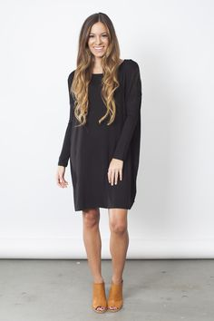 Piko Tunic - Loose fit, long sleeve, round neck piko dress. Drop shoulder. This dress is made with heavyweight jersey that is soft and drapes beautifully.- 2