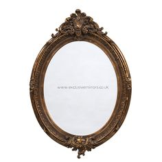 A large oval hotel style mirror. Ornate resin frame in an antiqued gold finish. French Mirror, Oval Mirror, Oval Frame, Gold Mirrors, Bathroom Mirrors, Shabby Chic Mirror, Shabby Chic Style, Pub Decor, Contract Furniture