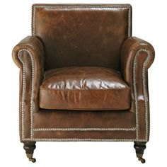 Fauteuil cuir marron Dandy, maisons du monde, ahhhh il a l'air comfortable !