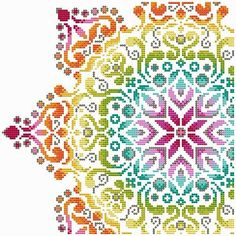 Rainbow Mandala 2 PDF cross stitch pattern by Shannon Wasilieff Stitch Count: by Materials Required to stitch: DMC, Mill Hill Beads as listed. Cat Cross Stitches, Counted Cross Stitch Patterns, Cross Stitch Designs, Cross Stitching, Cross Stitch Embroidery, Embroidery Patterns, Hardanger Embroidery, Print Patterns, Cross Stitch Geometric