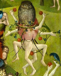 two cherry adorned dancing figures, seemingly partly covered by an egg, on which an owl is perched - The Garden of Earthly Delights, by Hieronymus Bosch, central panel detail Hieronymus Bosch, Medieval Art, Renaissance Art, Pieter Bruegel The Elder, Dancing Figures, Online Galerie, Arte Tribal, Garden Of Earthly Delights, Dutch Painters