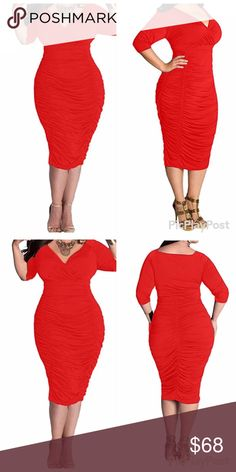 Red Sexy V-Neck 1/2 Sleeve Pleated Midi ❌No Trades❌ Discounts on bundles - Fashion Boutique  Dresses Midi