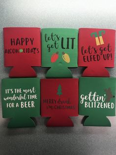 Koozies using the Cricut and heat transfer vinyl! Great for stocking stuffers! - Koozies using the Cricut and heat transfer vinyl! Great for stocking stuffers! Diy Christmas Gifts, Christmas Projects, All Things Christmas, Holiday Crafts, Holiday Fun, Christmas Crafts, Christmas Decorations, Christmas Shirts, Xmas Ornaments