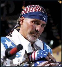 Deadwood, SD-Robbie Knievel, son of daredevil Evel Knievel, is accustomed to making tricky driving maneuvers with his motorcycle, but he isn't that skilled at Robbie Knievel, Bike Rally, Daredevil, Diet, Baseball Cards, Pictures, Photos, Banting, Diets
