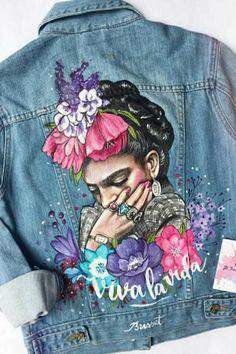Diego Rivera, Frida Art, Estilo Denim, Painted Clothes, Printed Denim, Denim Coat, Denim Fashion, Street Fashion, Womens Fashion