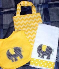 Elephant Gender Neutral Baby Gift Set Chevron by LittleTexasBabes
