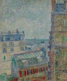 View of Paris from Vincent's Room in the Rue Lepic 1887. The beautiful Paris skyline out the window which he composed several times. He uses gently impressionist strokes of blue, white,yellow for a sky and pointillist strokes for building walls & portions of rooftops.The crowns of the rooftops in diagonal teals,short vertical strokes for chimneys & tiles.Greens & yellows in the lower left of the painting & at the right of building as we look into the distance & the cathedral of violet blue.