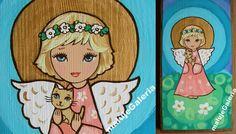 Aniołek Hani - Aniołki dla Dzieci - e-maluje  Anioły na drewnie recznie malowane...hand made... Angel Angels Aniołek Anioł Stróż pamiątka chrztu Aniołek Stróż obraz ikona prezent na ślub, komunię , chrzest, urodziny, podziękowanie, WYJATKOWE MALARSTWO, KOLOROWY ŚWIAT PEŁEN DOBREJ ENERGII...