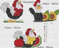 Resultado de imagen para ponto cruz galinha Rooster Cross Stitch, Chicken Cross Stitch, Just Cross Stitch, Cross Stitch Borders, Cross Stitch Animals, Cross Stitch Charts, Cross Stitch Designs, Cross Stitching, Cross Stitch Embroidery