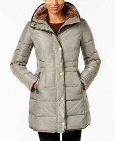 COLE HAAN COLE HAAN PETITE FAUX-FUR-LINED PUFFER COAT. #colehaan #cloth #