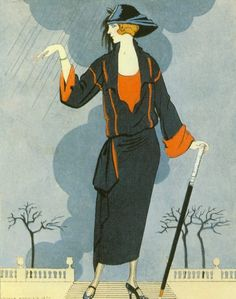 George Barbier (1882-1932) - French Art Deco Fashion Illustrator -  Dress by Worth, c. 1920