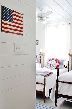 Love the flag and three beds in a row!