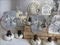 Petite Michelle Louise's photo holders made from embellished vintage door knobs.
