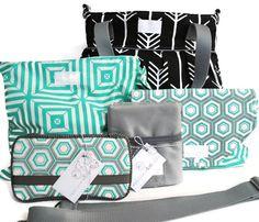 Diaper Bag Gift Set - Black Arrow Diaper Bag - Wet Bag - Diaper Clutch - Travel Pad - Wipes Case - Messenger Strap
