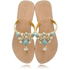 MYSTIQUE Turquoise Jeweled Sandals