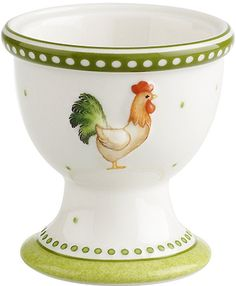 Rooster Egg cup with green trim
