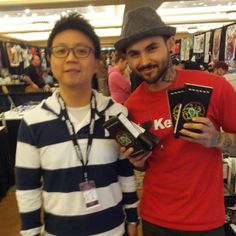 """Mithra's Tony Chow with Mithra artist and Best Ink: Season 1 finalist Jon Mesa - when Jon won """"Tattoo of the Day"""" at the 2013 Skindustry Tattoo Expo."""