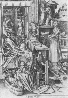 Israhel van Meckenem. Wochenstube.  c. 1450/1503. Staatliche Kunstsammlungen Dresden. Dresden, Germany. Bildindex der Kunst und Architektur.