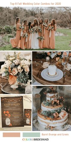 Top 8 Fall Wedding Color Combos for Burnt Orange + Green. wedding gowns Top 8 Fall Wedding Color Combos for 2020 Burnt Orange Bridesmaid Dresses, Rustic Bridesmaid Dresses, Fall Wedding Bridesmaids, Orange Wedding Colors, Fall Wedding Colors, Rustic Wedding Colors, Fall Wedding Themes, Wedding Flowers, Rustic Colors