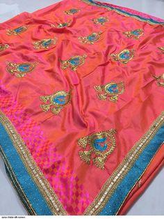 Designer Sana Chatai Silk Embroidered Saree with Brocade Lace Border Designer Silk Sarees, Art Silk Sarees, Trendy Fashion, Womens Fashion, Lace Border, Saree Dress, Embroidered Silk, Saree Wedding, Dresses Uk