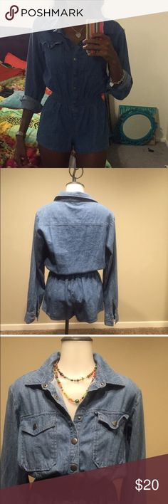 Denim Romper Worn Once. Very comfy and unique for the stylish at heart. Can be worn with heels, boots or sandals. Forever 21 Premium Denim Forever 21 Tops