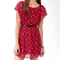 Florets Chiffon Dress w/ Belt