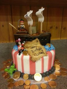 Jake and the neverland pirates bday cake. Made by: mrs.Maddox cakes. Farmington hills, mi