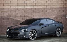 black , wheels , Dodge Charger , matte, Vossen