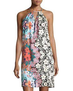 TCVTY 5Twelve Print Halter Dress, Teal Rust