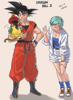 Bulma, Goku, and Gohan