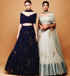 Traditional silhouettes of Lehenga and modern styles blouse . Embellished with hand embroidery work. Indian Wedding Outfits, Indian Outfits, Traditional Fashion, Traditional Dresses, Indian Attire, Indian Wear, Indian Designer Outfits, Designer Dresses, Saris