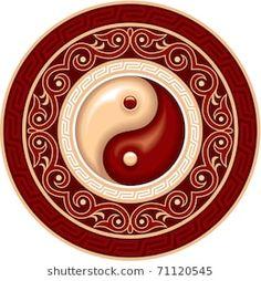 Vector Ying Yang Symbol in Round Decoration Plate Arte Yin Yang, Ying Y Yang, Yin Yang Art, Tatuajes Yin Yang, Yin Yang Tattoos, Symbole Ying Yang, Feng Shui, Yen Yang, Ying Yang Symbol