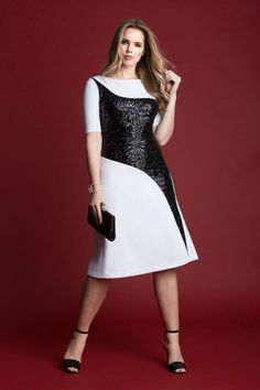 Studio Sequin Inlay Dress | Women's Plus Size Fashion | ELOQUII