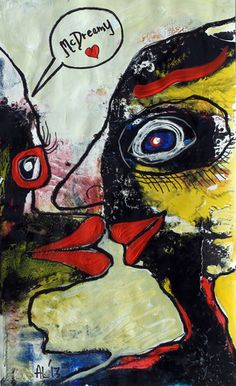 Original LABEDZKI Painting Abstract Outsider Art McDreamy 8 5x14 Inches | eBay
