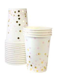 Don't forget the cups and be sure to add a pop of color with our Pink Confetti Cups - White in Color - Pink and Gold Confetti Print - 12 Cups per Package Check out our coordinating Pink Confetti Plate