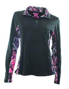 Moon Shine Attitude Attire Muddy Girl Camo Black Fleece Quarter Zip #FleeceJacket