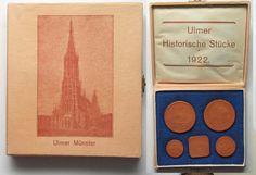 1922 Deutschland - Medaillen ULM 1922 ORIGINAL SET OF HISTORICAL COINS brown porcelaine RARE!!! # 92649 UNC