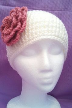Ivory Crocheted Beanie with Rose Pink Flower by head2toeblingsusan, $15.00
