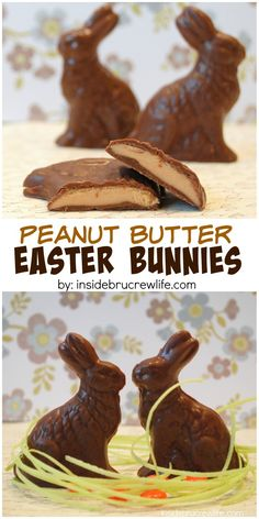 Homemade peanut butter filled chocolate bunny candies - Easter cakes and baking inspiration, edible gift idea Peanut Butter Filling, Homemade Peanut Butter, Peanut Butter Fudge, Peanut Butter Recipes, Fudge Recipes, Homemade Chocolate, Candy Recipes, Chocolate Recipes, Easter Candy
