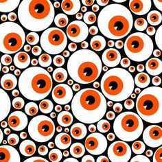 Eyeballs orange fabric by petitspixels on Spoonflower - custom fabric